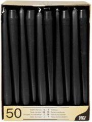 Merkloos / Sans marque Voordeelverpakking zwarte dinerkaarsen/kandelaarkaarsen - Gotische kaarsen zwart 50 stuks 25 cm - Tafel decoratie kaarsen