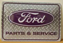 Deco Noord Ford Parts en Service reclamebord van metaal metalen wandbord RECLAMEBORD - MUURPLAAT - VINTAGE - RETRO - WANDDECORATIE -TEKSTBORD - DECORATIEBORD - RECLAME - NOSTALGIE CAFE- BAR -MANCAVE- 30 x 20 cm GEBOLD EN RELIEF