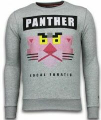 Local Fanatic Panther - Rhinestone Sweater - Grijs Sweaters / Crewnecks Heren Sweater Maat XL