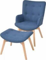 VidaXL Fauteuil met voetenbankje stof blauw