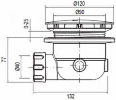 Wisa douchebakafvoer compleet voor douchebak inclusief gat 90mm 120mm chroom 5000922152
