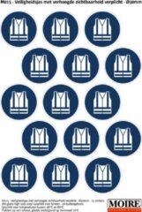 Blauwe Moire BV Pictogram sticker 75 stuks M015 - Veiligheidsjas met verhoogde zichtbaarheid verplicht - 50 x 50mm - 15 stickers op 1 vel