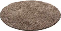 Decor24-AY Hoogpolig vloerkleed Life - mocca - rond 160 cm