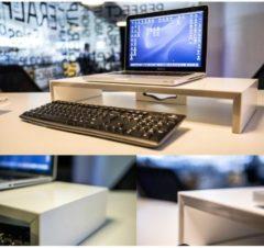 TFT Monitoraufsatz Monitorerhöhung Aufsatz TFT-Ständer Erhöhung 'Edlosa' VCM Weiß / Silber