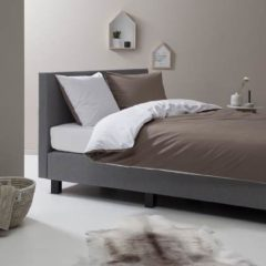 Antraciet-grijze Ten Cate Home Ten Cate Katoenen Double Face Tweepersoons Dekbedovertrek - 200x200/220 - Antraciet/Off-White