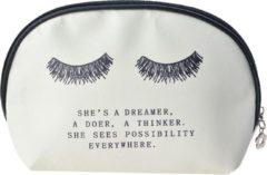 Clayre & Eef Melady Toilettas Dames MLTT0068L 28*8*18 cm - Wit Polyester Make Up Tasje Make-Up Etui