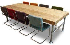 Van Abbevé Set tafel en stoelen Eettafel Steigerhout En Steigerbuis Inclusief 10 Retro Rib Stoelen