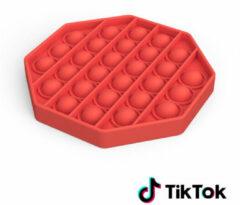 Merkloos / Sans marque Pop it Fidget Toy- Bekend van TikTok - Hexagon - Rood