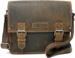 Hillburry tas - Unisex Schoudertas / aktetas / laptoptas in buffel leer / vintage leer Bruin