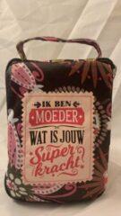 Rode History&heraldy Shopper bag dames met leuke tekst IK BEN MOEDER WAT IS JOUW SUPERKRACHT? winkeltasje Wordt geleverd in cellofaan met linten