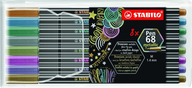 Afbeelding van STABILO Pen 68 Metallic Etui, 8st. Afmeting artikel: lengte 16,5 cm, Lijndikte 1.4 mm