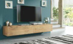 Pro-meubels - Zwevend Tv-meubel - Tv kast - Tunis - Eiken - 200cm 2x100cm
