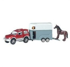 Basic 2-Play Traffic Die-Cast Mitsibushi Jeep met Paardentrailer + 2 Paarden