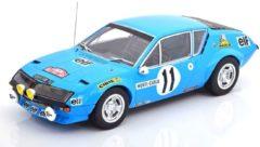 Lichtblauwe Renault Alpine A310 No.11, Rally Monte Carlo 1975 Warmbold/Davenport Blauw 1-18 Ixo Models