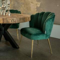Richmond Interiors Richmond Eetkamerstoel 'Pippa' Velvet, kleur Groen / Goud