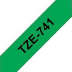 Brother TZ-741 - 18mm - black on groen - not for PT-1000 / PT-12XX