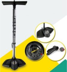 Zilveren Decopatent® PRO Fietspomp met drukmeter - High Pressure - Fiets Vloerpomp - Incl Adapters - Fietspompen Racefiets Mtb Fiets E-Bike