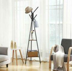 VASAGLE garderobestandaard in boomvorm, kledingstandaard, vrijstaande garderobe, met 2 planken, voor kleding, hoeden, tassen, industrieel design, vintage bruinzwart RCR16BX