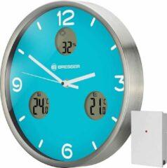 Zilveren Bresser MyTime Wandklok Lichtblauw - Incl. Themometer & Hygrometer - 30Ø cm - Met Draadloze Sensor