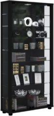 Sammelvitrine Standvitrine Glasvitrine Glasregal Vitrine Glas Schaukasten 'Lumo Maxi' VCM Mit LED: Schwarz