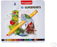 Viltstift Bruynzeel Expression super points blik à 15 stuks assorti