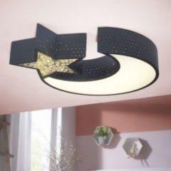 Wohnling LED-Deckenleuchte NIGHTSKY Metall EEK A+ Deckenlampe Mond & Stern schwarz Design Kinderzimmer-Lampe 30 Watt 2550 Lumen warmweiß Schlafzimme