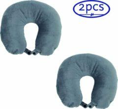 Grijs reiskussen in U vorm - voorzien van micro vulling - voorkomt hoofdpijn en nekklachten - 2 stuks - OBBOmed MN 5302G