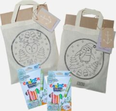 Paarse Faith Lifeline | Knutselpakket |Thuis Tasjes Versieren | Canvastas kleurplaat incl. textielstiften