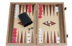 Manopoulos Backgammon Rood accenten - Eik en Walnoot - Prachtig 38x23 - 38x46cm - Zijlade Top Kwaliteit