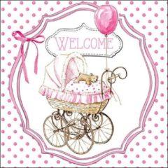 Roze Ambiente Servet 33cm Welcome pink baby