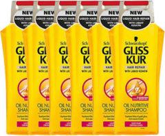 Schwarzkopf Gliss Kur Oil Nutritive Shampoo 250 ml - 6 stuks - Voordeelverpakking