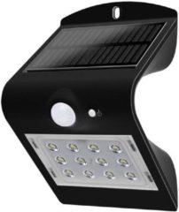Zwarte Lampe murale LED solar avec détecteur de mouvement V-tac VT-767-2 - 1,5W - 220Lm - 4000K - noire - énergie solaire