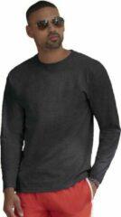 Fruit of the Loom Basic shirt lange mouwen/longsleeve donkergrijs voor heren - Herenkleding donker grijze shirts M (38/50)