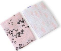Roze Milk & Moo Milk&Moo Swaddle - Wikkeldeken Baby - Omslagdoek - Hydrofiele Doeken - Inbakerdeken - Luierdoek - Mousseline - 2 Stuks