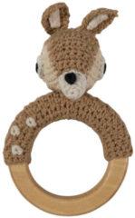 Beige Sebra - Rammelaar gehaakte bambi aan ring L13cm W8cm