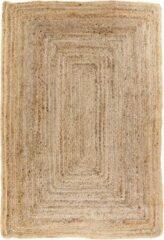 Naturelkleurige Hioshop Broom vloerkleed 135x65 cm in jute natuur.