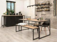 """Oost & Dijk Interieur Industriële eettafel + bank hout en metaal """"Austin"""" - 180 x 80 x 75 cm"""