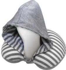 Universeel AutoStyle Comfortline Nekkussen met geïntegreerde Hoodie - Grijs/Wit