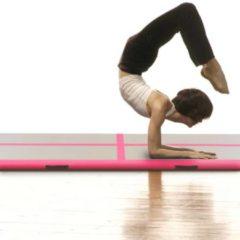 VidaXL Gymnastiekmat met pomp opblaasbaar 400x100x10 cm PVC roze
