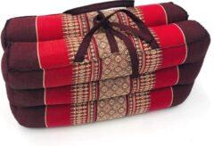 VDD Thai thoughts Meditatie en yoga zitkussen matje opvouwbaar draagbaar 40 cm x 40 cm x 7 cm Burgundy Rood