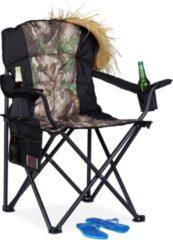 Donkergroene Relaxdays Campingstoel - visstoel - opvouwbare stoel - strandstoel - bekerhouder