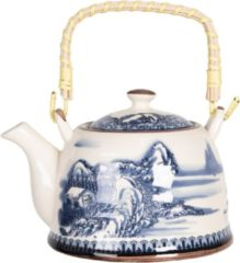 Clayre & Eef Theepot met Filter 6CETE0068 18*14*12 cm / 0,8L Blauw Porselein Rond Chinees tafereel Theekan Japanse Theepot Chinese Theepot