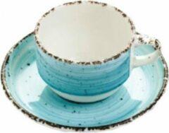 Gural Ent color Set 6 Tas en Ondertas 17cl Blauw 617348