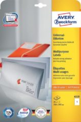 Avery-Zweckform 6119 Etiketten 210 x 297 mm Papier Wit 30 stuks Permanent Universele etiketten Inkt, Laser, Kopie 30 vel DIN A4