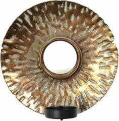 Kelvi Kleine Ronde Bronzen Spiegel met Kaarslicht
