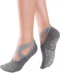 Donkergrijze Merkloos / Sans marque Yoga & Pilates sokken met antislip - 'Ballerina Yoga' - dichte tenen - grijs - Pilateswinkel - meerdere kleuren verkrijgbaar!