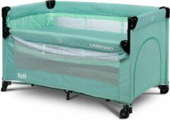 Caretero Esti Campingbed met 2 lagen inklapbaar - co sleeper- kinderbed met op wielen mint