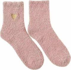 Merkloos / Sans marque Sokken Fleece Roze Goud Hartje Valentijn Huissokken Dikke Warme Sokken