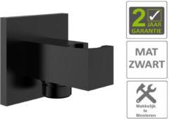 """Boss & Wessing AQS Doucheaansluiting Luxe Vierkant Met Opsteek 1/2"""" Messing Mat Zwart"""