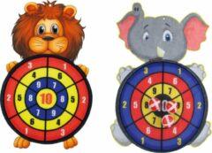 Merkloos / Sans marque 2 stuks kinder dartbord met ballen Leeuw en Olifant
